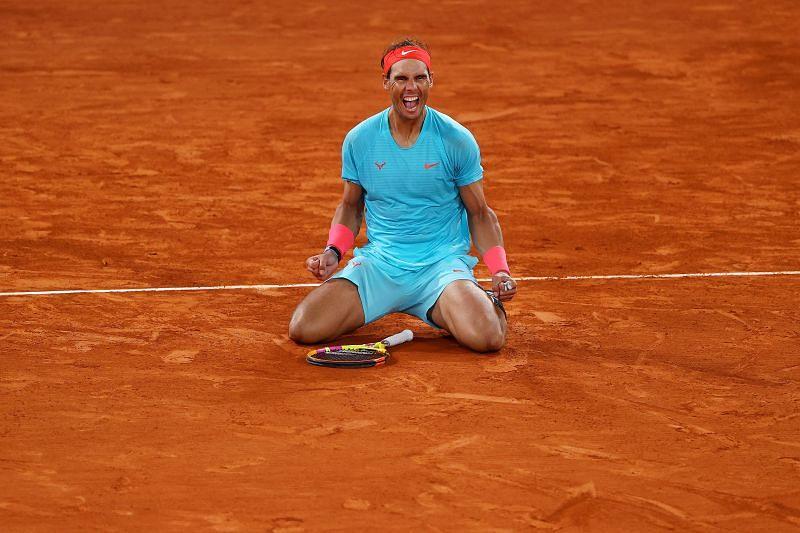 Rafael Nadal celebrates after winning his 20th Grand Slam title in Paris