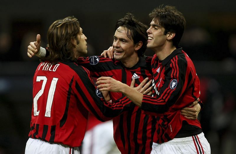 Pirlo (left) and Kaka (right) during their time together at AC Milan