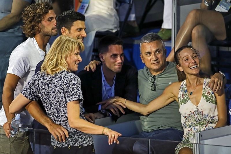 Novak Djokovic with his family during the Adria Tour charity exhibition event in Belgrade, Serbia