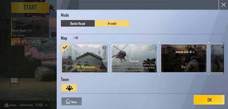 Arcade game mode in PUBG Mobile Lite