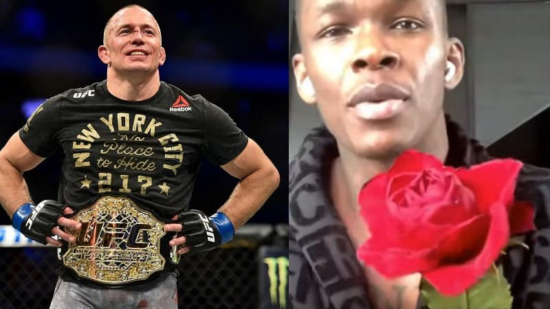 Israel Adesanya offers a rose to Georges St-Pierre