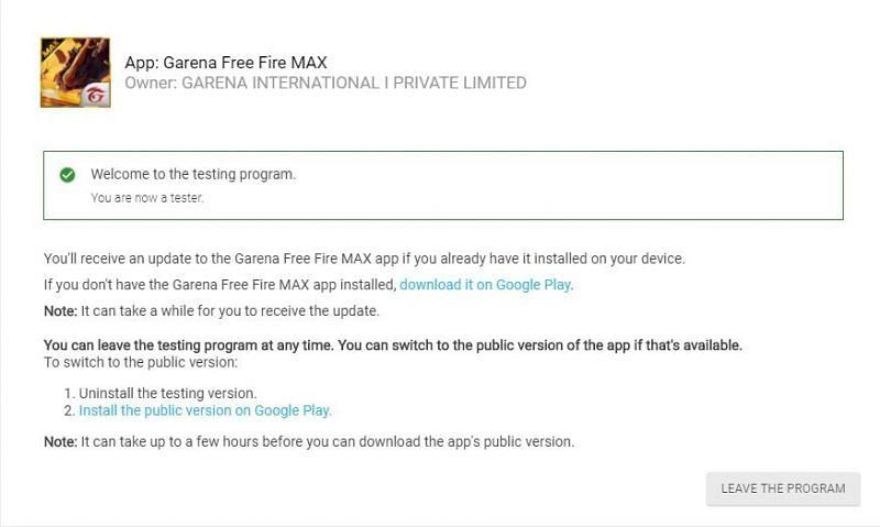 Free Fire Max beta testing