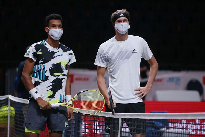 Felix Auger-Aliassime (L) and Alexander Zverev ahead of the final in the Cologne 1 event last week