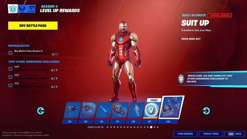 Iron Man is the last cosmetic to be unlocked in Fortnite Season 4