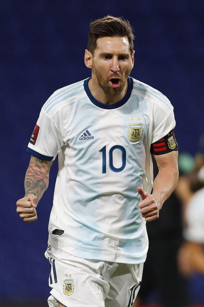 Lionel Messi rejoices after scoring for Argentina