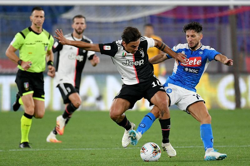Paulo Dybala of Juventus competes for the ball with Dries Mertens of SSC Napoli