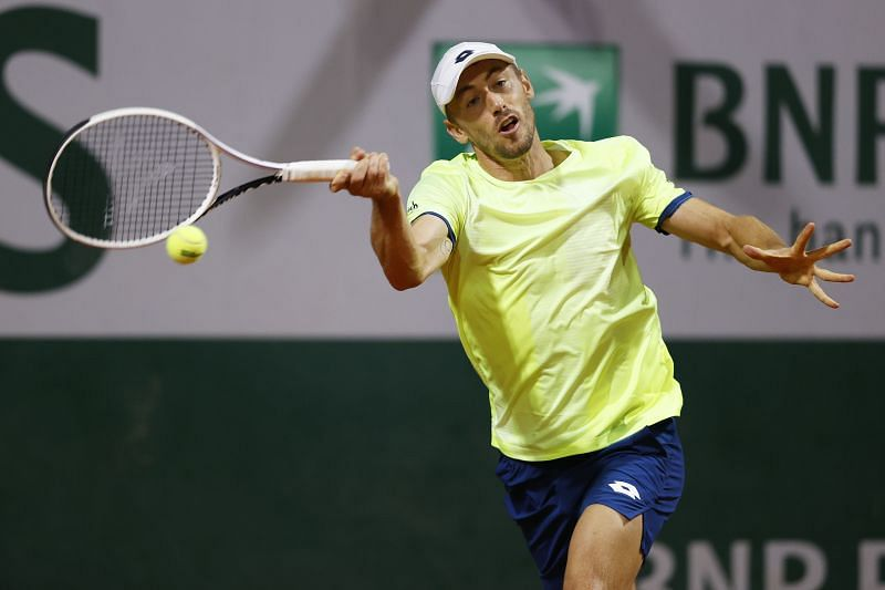 John Millman plays a forehand during the 2020 French Open
