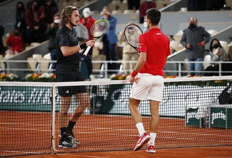 Stefanos Tsitsipas (L) and Novak Djokovic