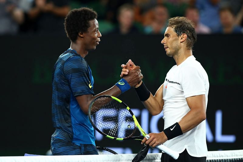 Rafael Nadal is congratulated by Gael Monfils after winning their fourth round match at the 2017 Australian Open