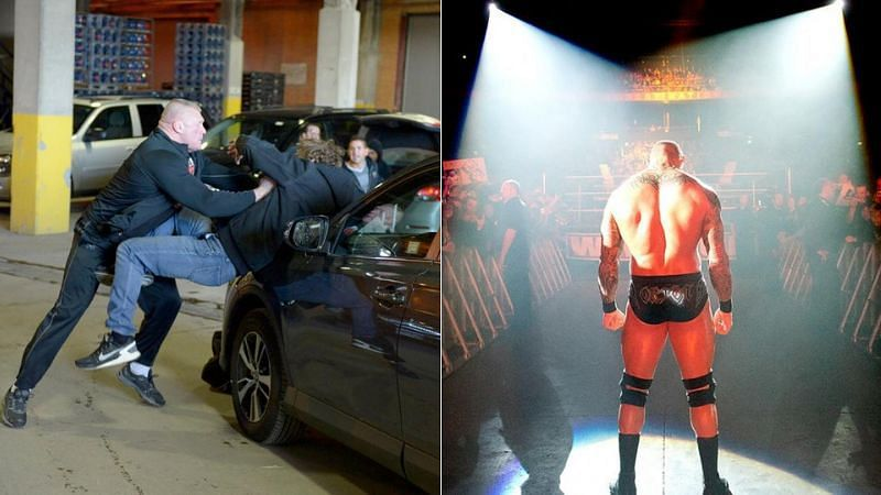 Brock Lesnar and Dean Ambrose (left); Randy Orton (right)
