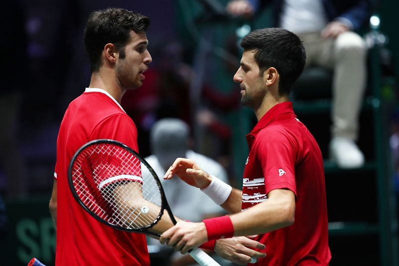 Karen Khachanov (L) and Novak Djokovic at the 2019 Davis Cup