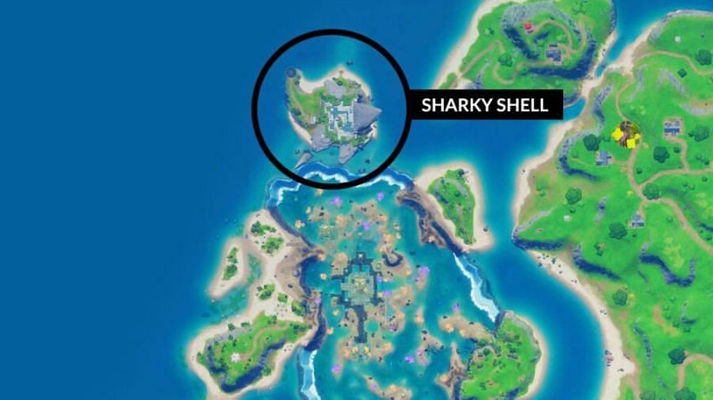 Fortnite Sharky Shell location on the map (Image credit: Pro Game Guides)