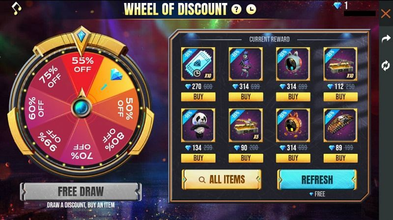 Wheel of Discount in Free Fire