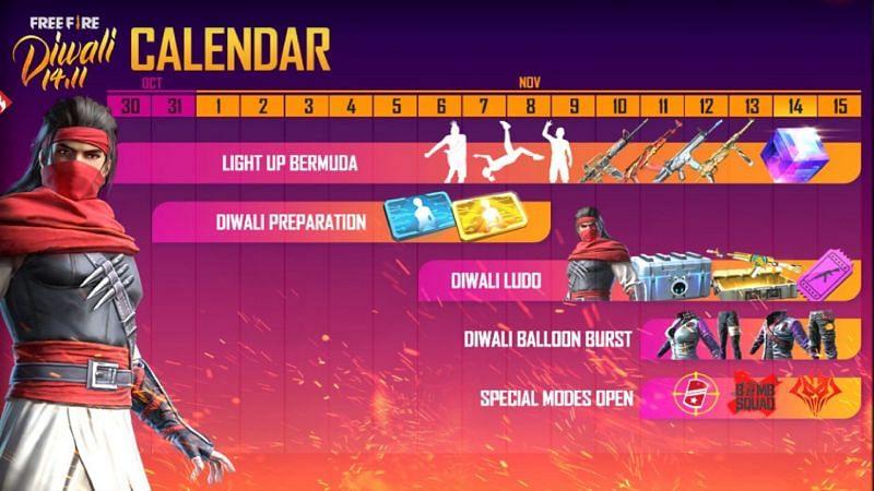 The Free Fire Diwali event 2020 calendar