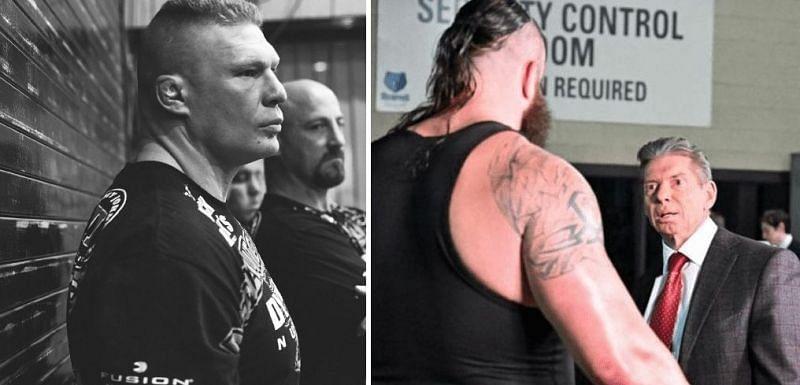 Brock Lesnar, Braun Strowman, and Vince McMahon