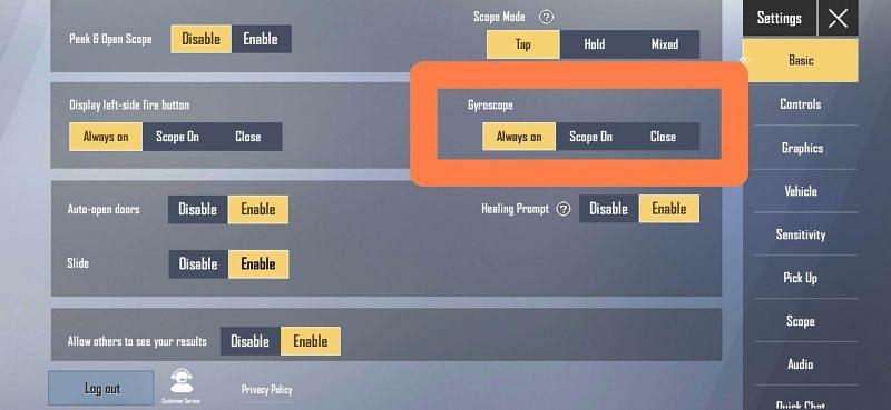The gyroscope settings in PUBG Mobile Lite