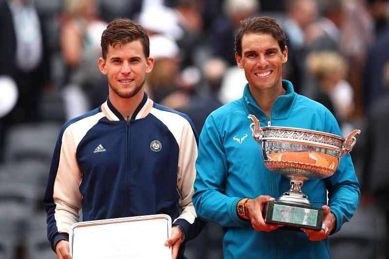 Dominic Thiem (L) and Rafael Nadal