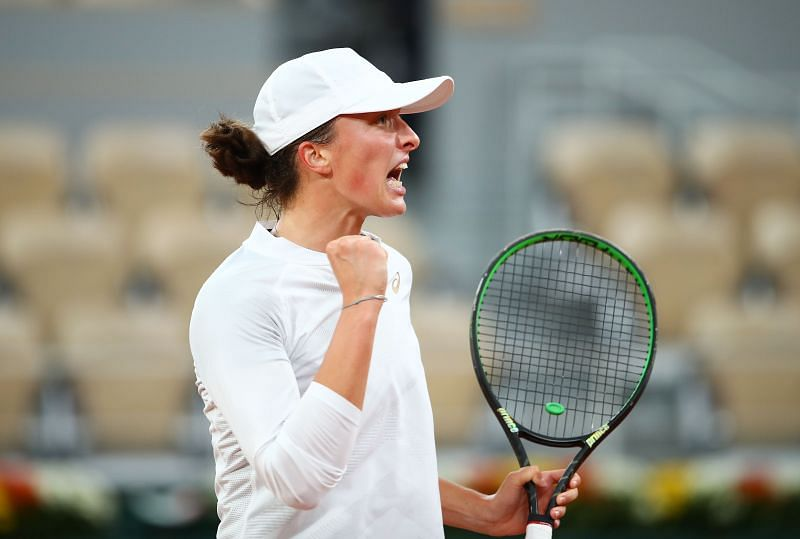 Iga Swiatek during her fourth round win over Simona Halep at the French Open