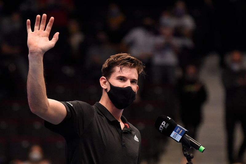 Dominic Thiem waves to fans after winning his match against Vitaliy Sachko in Vienna, Austria
