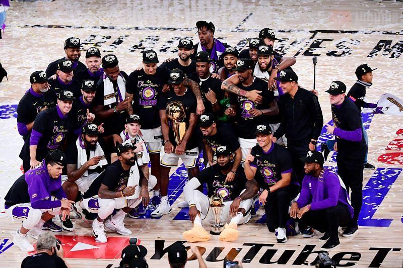 LA Lakers celebrate after winning 2020 NBA Finals