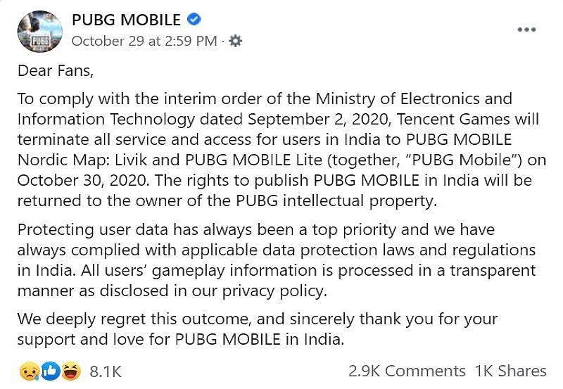 Official announcement by PUBG Mobile on their Facebook page