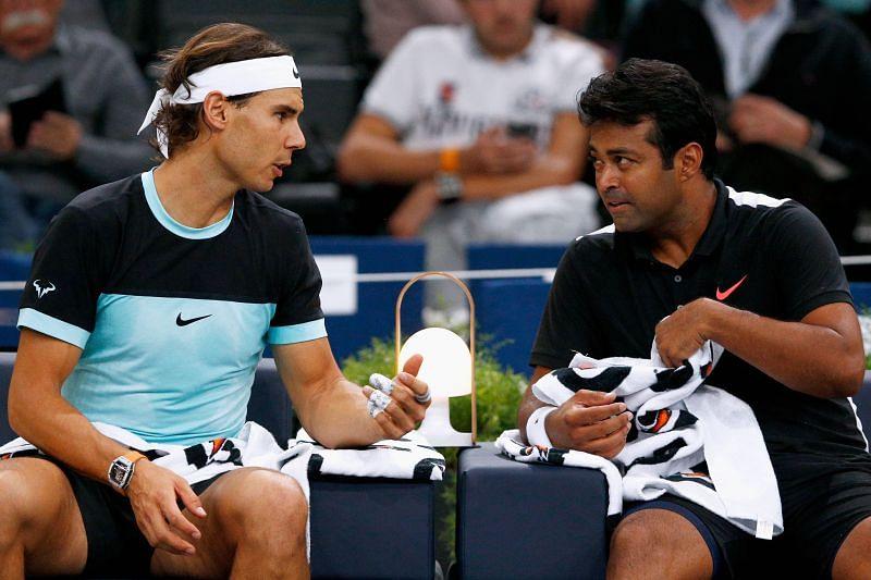 Rafael Nadal (L) and Leander Paes.