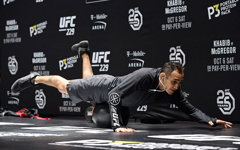 Tony Ferguson attends an open workout