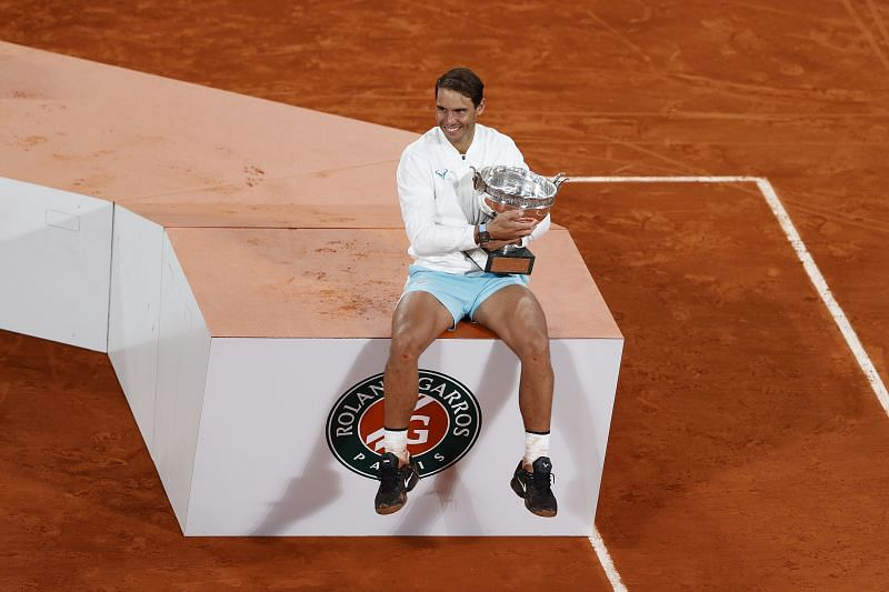 Rafael Nadal of Spain poses with the winners trophy after winning the 2020 French Open