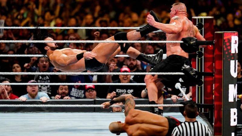 Mcintyre eliminates Lesnar.