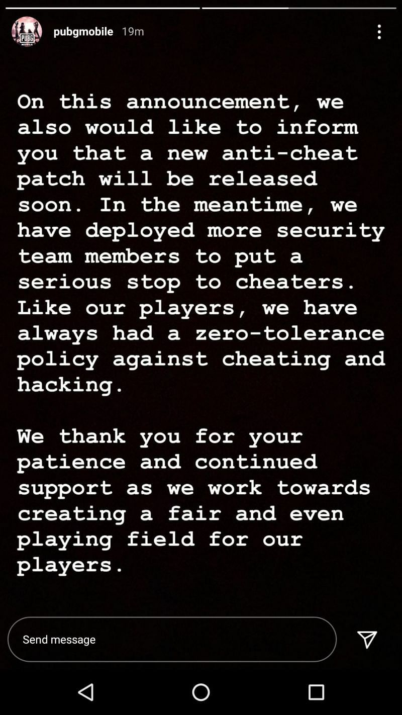 PUBG Mobile Instagram story about new anti cheat patch (3rd Oct.)