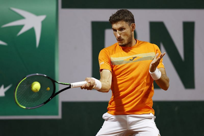 Pablo Carreno Busta during his first round match against John Millman at the 2020 French Open