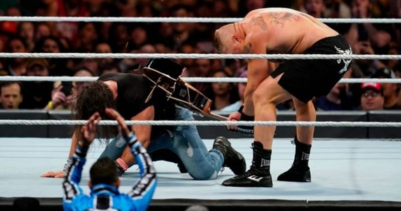 Brock Lesnar and Elias during the Royal Rumble match.