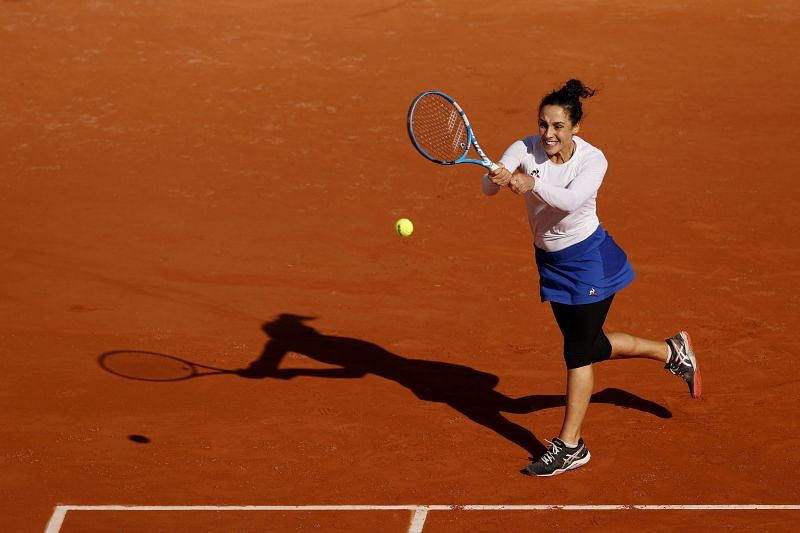 Martina Trevisan during her win over Kiki Bertens at the 2020 French Open