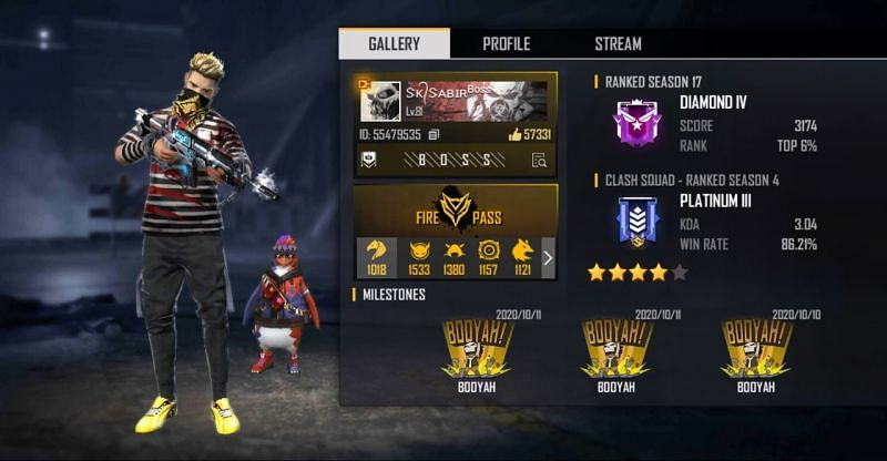 SK Sabir Boss in Free Fire: In-game ID, settings, stats, and more