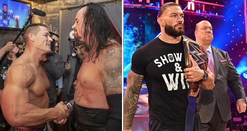 John Cena, The Undertaker, and Roman Reigns