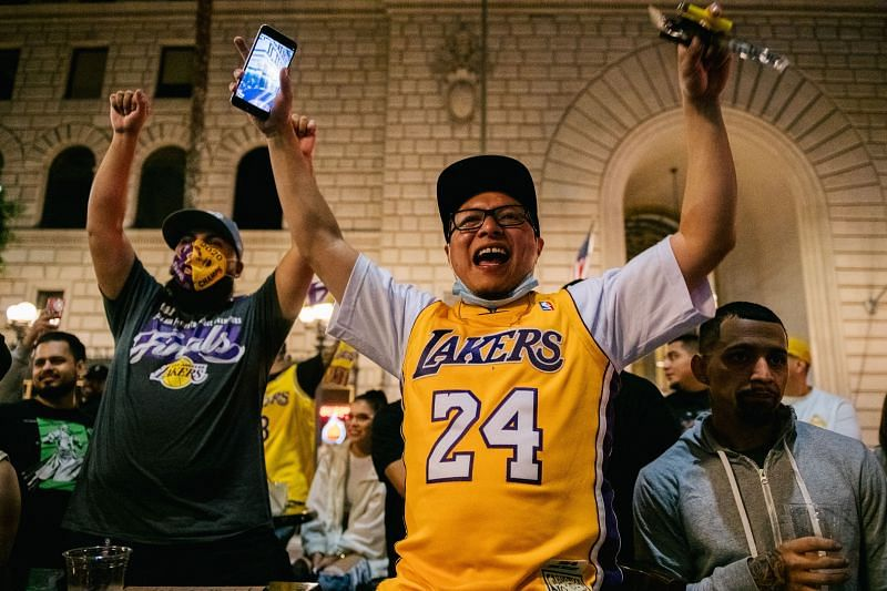 Fans celebrate in Los Angeles after the LA Lakers won the 2020 NBA Finals.