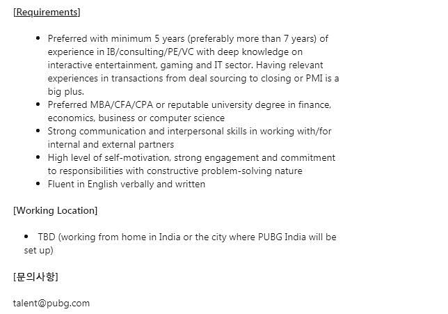 Corporate Development Division Manager - India requirements