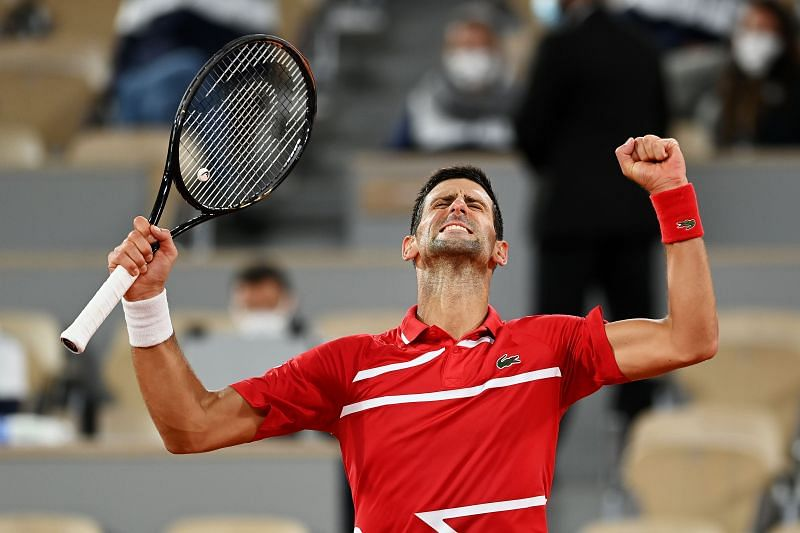 Novak Djokovic after his fourth round win over Karen Khachanov at the French Open
