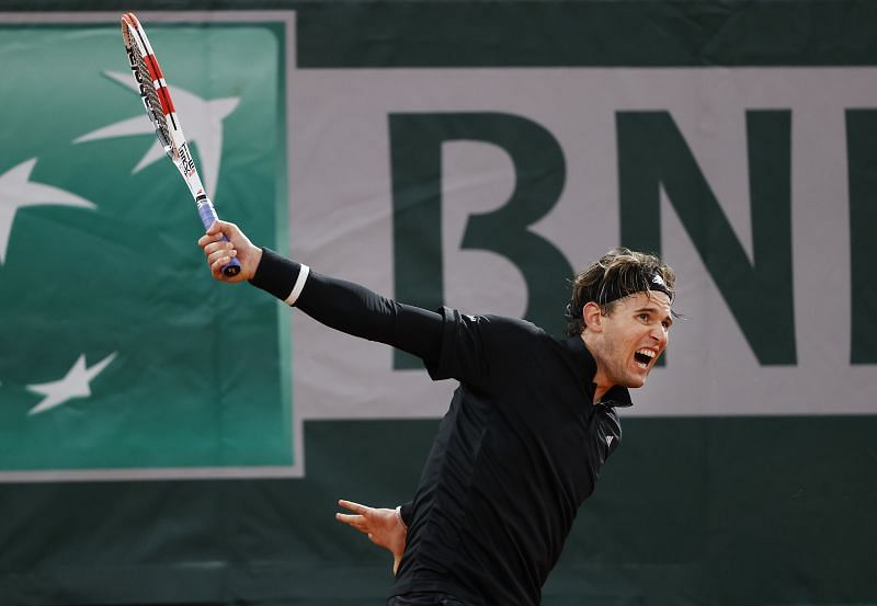 Dominic Thiem during his third round win at the French Open on Friday
