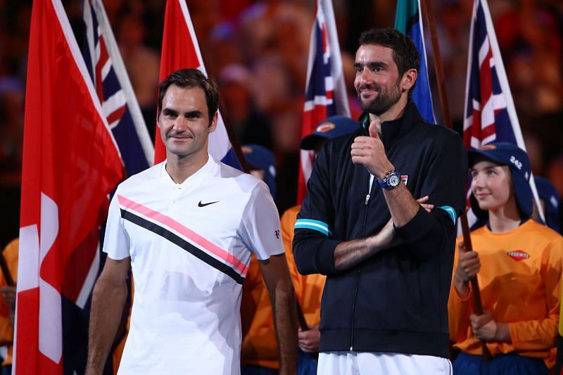 Roger Federer (L) and Marin Cilic at the 2018 Australian Open