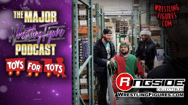 Matt Cardona, Brian Myers, and Swoggle figure shopping at Ringside Collectibles