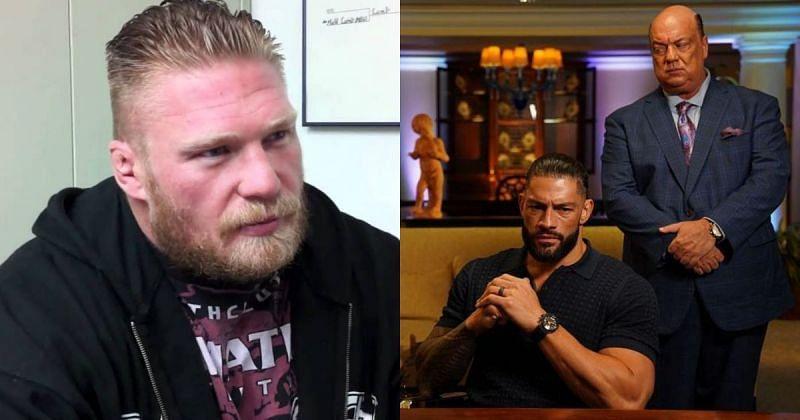 Brock Lesnar, Roman Reigns, and Paul Heyman.
