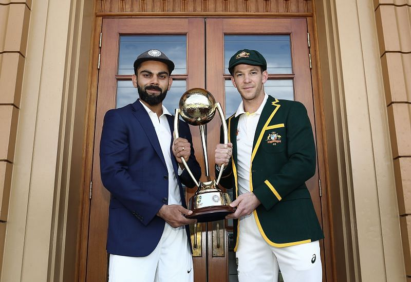 Virat Kohli and Tim Paine with the Border-Gavaskar Trophy in 2018