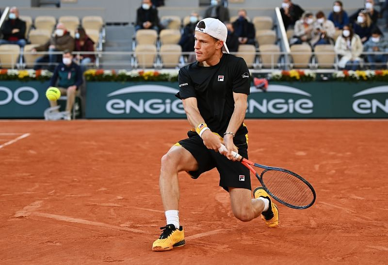 Diego Schwartzman in action at the 2020 French Open