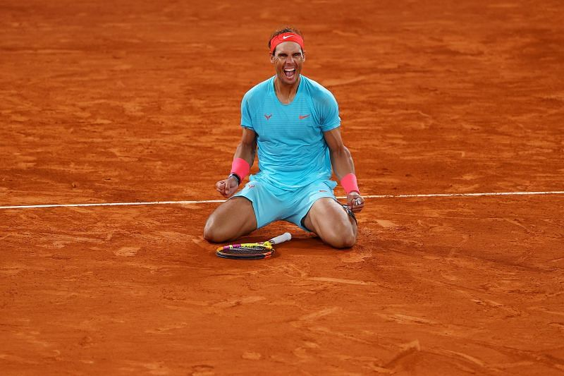 Rafael Nadal celebrates after winning the final against Novak Djokovic at the 2020 French Open
