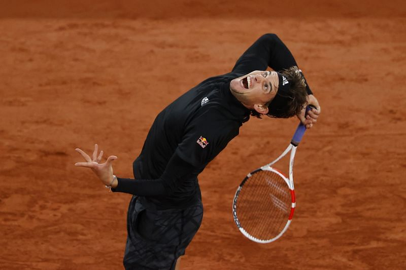 Dominic Thiem serves during his third round win over Casper Ruud at the French Open