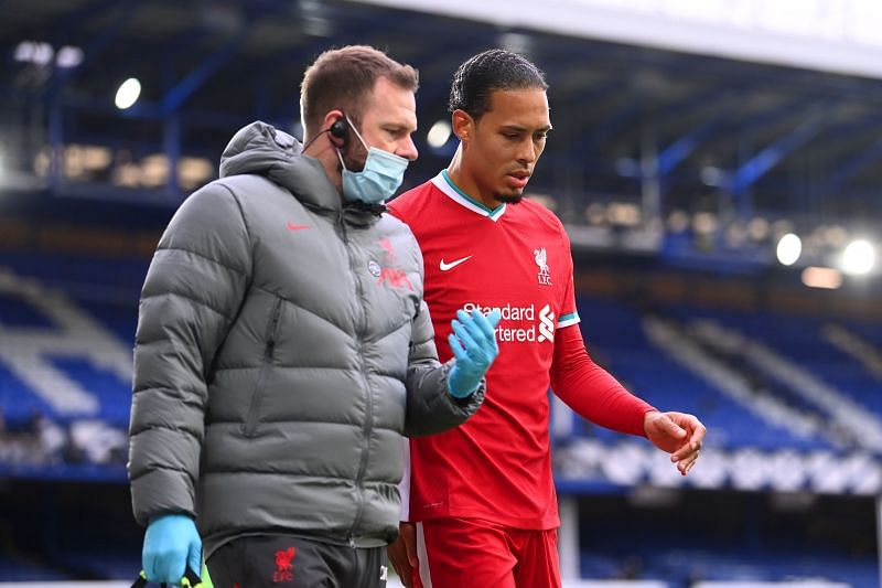 Virgil van Dijk leaves the stadium after his injury