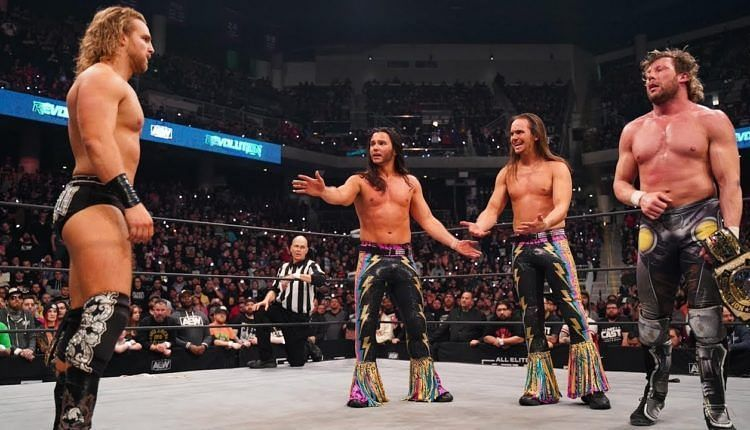 Hangman Page with The Young Bucks and Kenny Omega