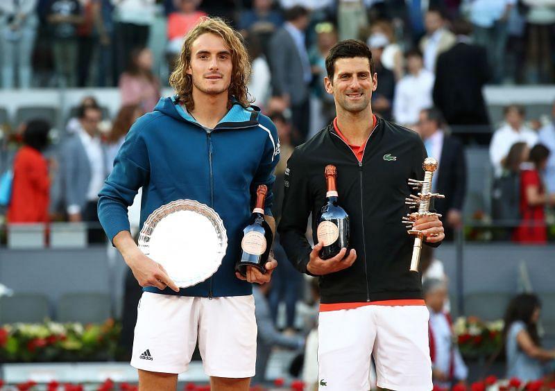 Stefanos Tsitsipas (L) and Novak Djokovic