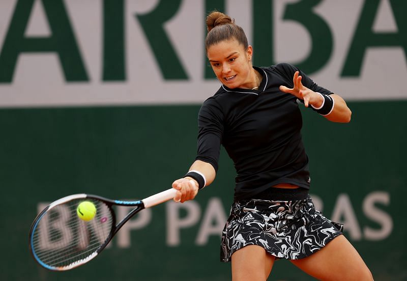 Maria Sakkari during her first round match at the French Open